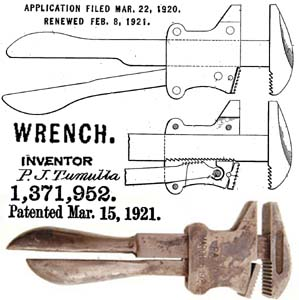 Paul John Tumulla patent March 15, 1921 , with photo of CHAMPION wrench - photo courtesy Martin Donnelly mjdtools.com