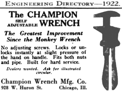 Champion Wrench Co. (edited from 1922 ENGINEERING DIRECTORY)