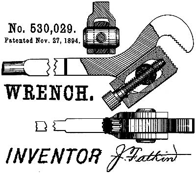 US Patent: 530,029 - Improvement in Pipe Wrenches